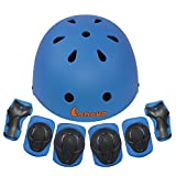 Lanova Kids Protective Gear Set,7Pcs Sport Safety Equipment Adjustable Child Helmet Knee Elbow Pads Wrist Guards for Skating Skateboard and Other Sports Outdoor Activities