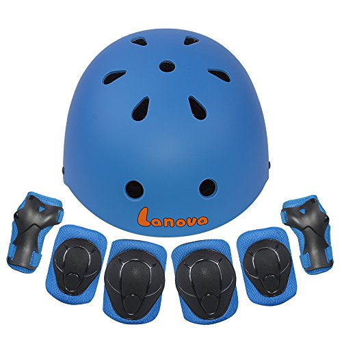 Lanova Kids Protective Gear Set,7Pcs Sport Safety Equipment Adjustable Child Helmet Knee Elbow Pads Wrist Guards for Skating Skateboard and Other Sports Outdoor Activities – DiZiSports Store