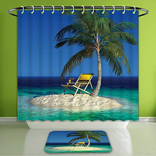 Waterproof Shower Curtain and Bath Rug Set Seaside Decor Chair Under A Palm Tree On A Small Uninhabited Tropical Island Cl Bath Curtain and Doormat Suit for Bathroom Extra Long Size 72