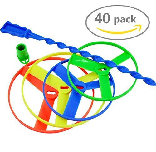 POPLAY Twisty Pull String Flying Saucers/Helicopters,40 PCS Disc Launcher