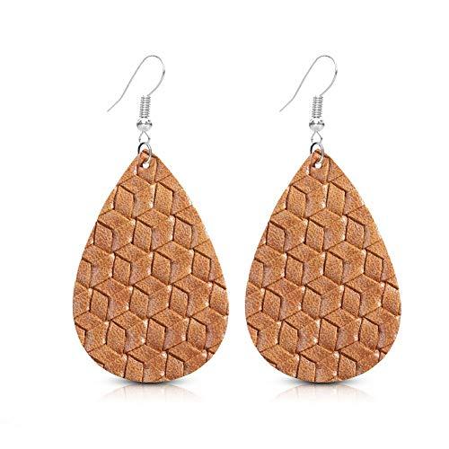 SUMMER LOVE Faux Learther Teardrop Earrings Lightweight Bohemia Vintage Leather Dangle Drop Earrings for Women Girls (Brown)