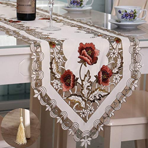 (ROGEWIN Table Runners Refined Tassels Modern Cutwork Embroidery Lace for Wedding Party Christmas Home Hotel Decoration)