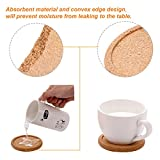 TecUnite 12 Pack Cork Coasters Round Absorbent