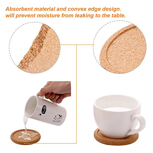 TecUnite 12 Pack Cork Coasters Round Absorbent Drink Coasters for Home Restaurant Office and Bar, 4 Inches by TecUnite (Image #2)
