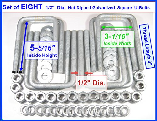 (8) HDG Hot Dipped Galvanized Square U-Bolt Boat Trailer U bolt Ubolt 1/2'' D x 3 1/16'' W x 5 5/16'' L by TMW