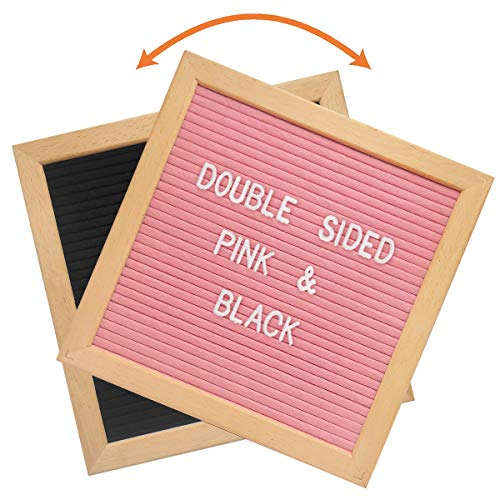 Double Sided Felt Letter Board - 10x10 Black Pink DIY Changeable Message Sign, Kids Teen Girls Boys Birthday Gift, First Day Back to School Dorm Decoration, Kindergarten Preschool Teaching Props]()