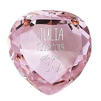Geschenke.de Personalisierbares Glasherz Mama Glas-Herzdiamant mit Gravur als personalisiertes Geschenk f/ür den Muttertag und Geburtstag Geschenk f/ür die Mutter