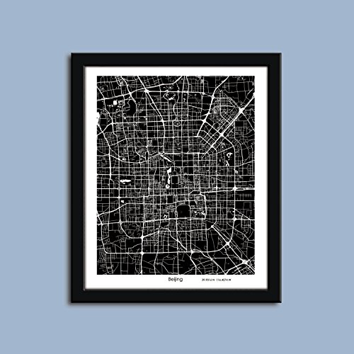 Poster Print Beijing (Beijing map, Beijing map art, Beijing wall art poster, Beijing decorative map)