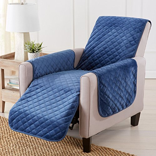 Great Bay Home Modern Velvet Furniture Protector. Stain Resistant, Durable, Machine Washable. Perfect for Pets, Dogs & Kids (Recliner, Dark Denim ()