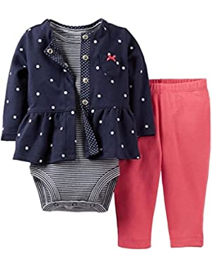 Carters Baby Girls 3 Piece Outfit Set-Cardigan, Onesie, Pant (Navy, 12M)