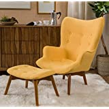 Accent Chair With Ottoman Set Foot Rest Bundle w Floor Protector Pads (Yellow)