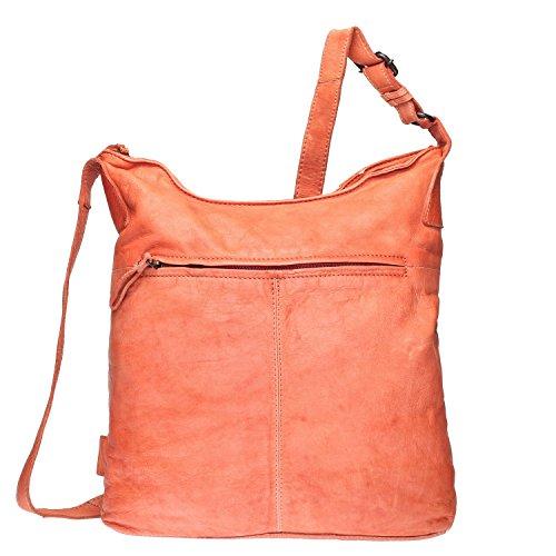 VOi Damen Beuteltasche aus Leder Umhängetasche 21089 Schultertasche Crossover Bag genarbtes Leder in Cayenne Orange