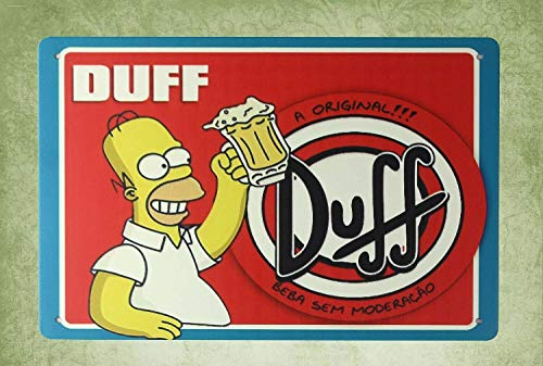 QDTrade Metal Sign 16 x 12inch - Simpsons Homer DUFF Beer Vintage Look tin Sign Wall Decoration Bar Cafe Home Decor Contemporary Decor - Homer Simpson Duff Beer