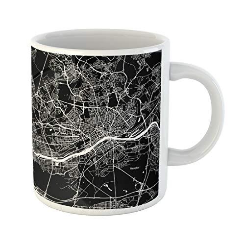 Semtomn Funny Coffee Mug Street Frankfurt Map Artprint Black Landmass White Water 11 Oz Ceramic Coffee Mugs Tea Cup Best Gift Or Souvenir