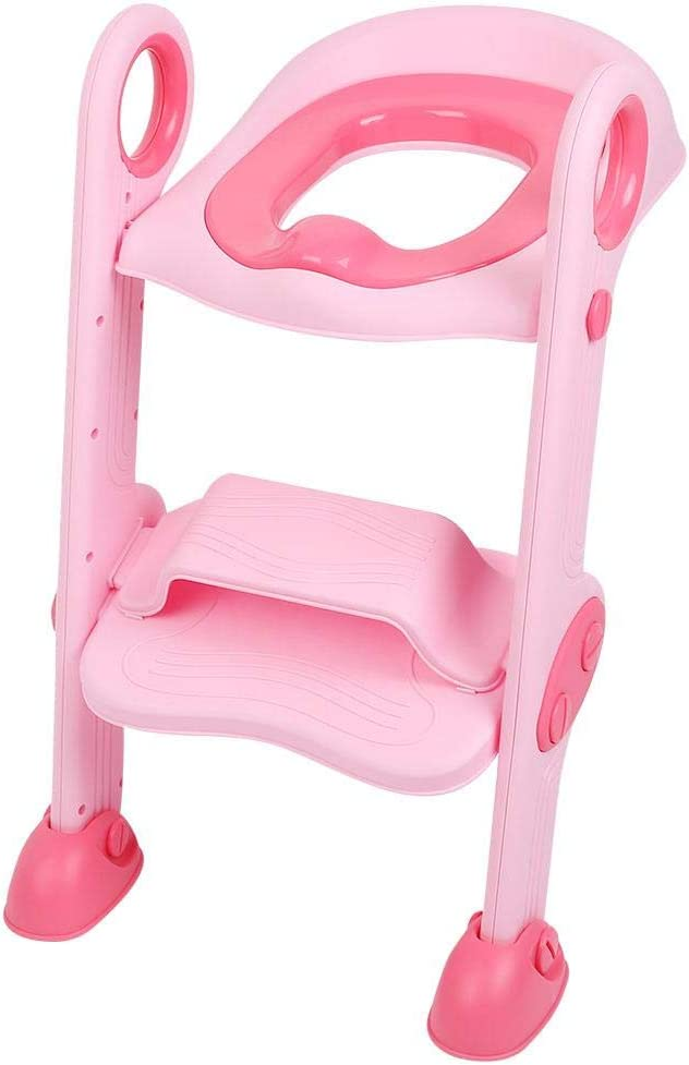 Zerone Aseo Escalera Asiento Escalera de Niños, Asiento de Entrenamiento de Inodoro Ajustable y Plegable para Bebés de 2 a 8 Años(Rosa): Amazon.es: Bebé