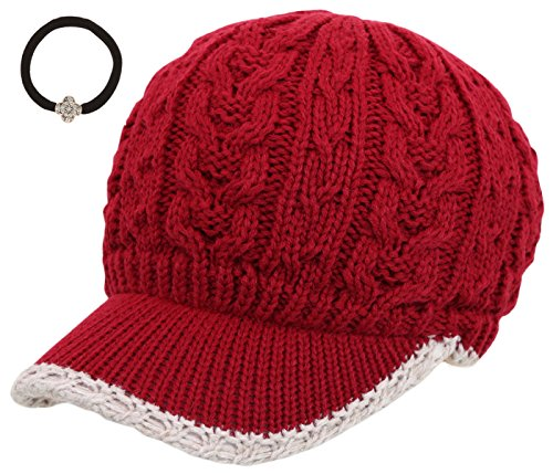 Women's Cable Knitted Double Layer Visor Beanie Hat with MIRMARU Hair Tie (Tipped Line/Burgundy)