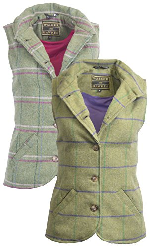 Walker & Hawkes - Ladies Ashby Traditional English-Style Tweed Waistcoat Vest - Sage with Purple Stripes - 10 (UK 14) (English Tweed)