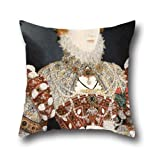 Oil Painting Nicholas Hilliard (called) - Portrait Of Queen Elizabeth I Pillow Cases ,best For Kitchen,play Room,gf,outdoor,couples,car Seat 18 X 18 Inches / 45 By 45 Cm(twin Sides)