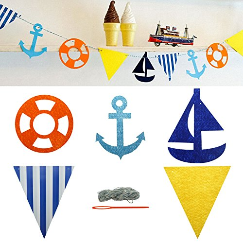 Bilipala Nautical Themed Pennant Bunting Banner, Nautical Party