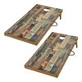wood cornhole - TIANNBU TIANNBU Solid Wood Cornhole Set Portable Bean Bags Toss Game Regulation Size 2 x 4 feet, Durable Printed Surface and Underneath for Indoor and Outdoor