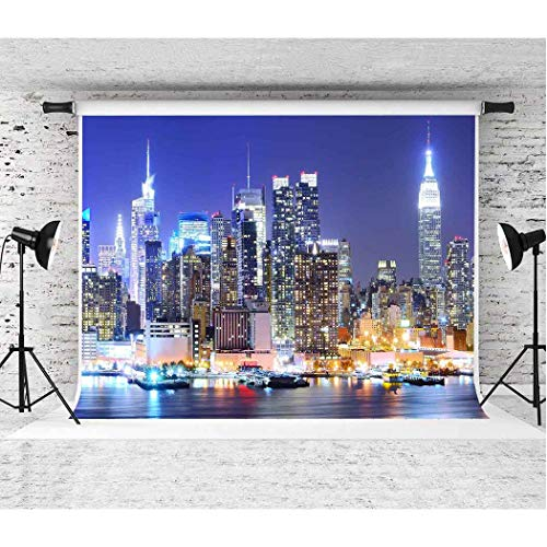 EARVO 7x5ft New York Manhattan Night Scenery Photography Background New York Themed Party YouTube Cotton Backdrop (Wrinkle Resistance) Studio Photo Props Wall Mural EA021 -