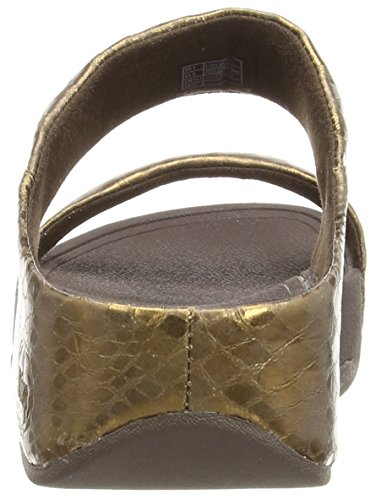 Fitflop Lulu Metallic Snake Slide - Sandalias de sintético mujer marrón - Brown (Bronze)