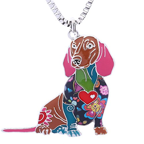 Luckeyui Novelty Dachshund Gifts Necklace for Women Personalized Dog Lovers Pets Pendants -