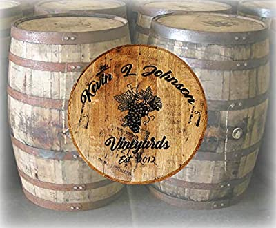 Rustic Home Decor Personalized Whiskey Barrel Lid Wine Vineyards Grapes Drinking Bar Sign Man Cave