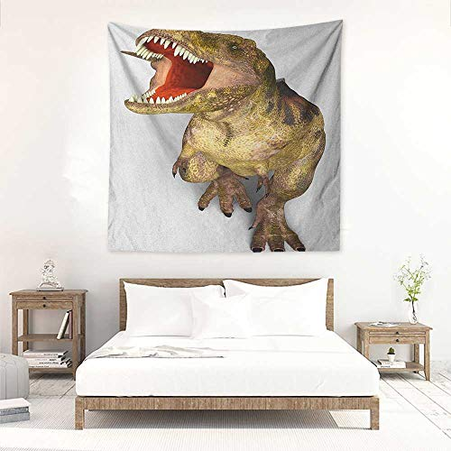 (Willsd Dinosaur Square Tapestry Hippie Image of Roaring Rex Realistic Historical Animal with Sharp Teeth Home Decorations for Bedroom Dorm Decor 32W x 32L INCH Army Green Scarlet Tan)