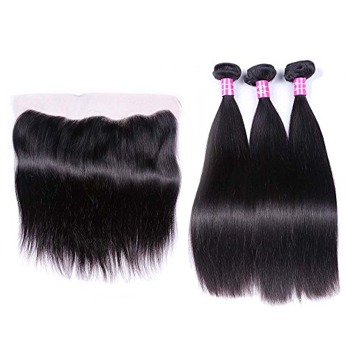 Sterly Brazilian Straight Hair 3 Bundles With Frontal Closure 13x4 Ear To Ear Lace Frontal With Bundles Unprocessed Virgin Human Hair Extensions Natural Color (18 20 22 +16) by Sterly (Image #2)