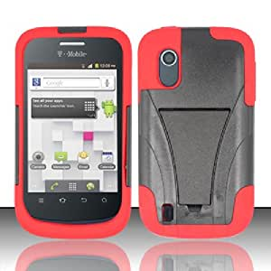 Cellphone Cover For ZTE Concord V768 (T-Mobile) - PC+SC HYBRID Cover w/ Kickstand - Red HYB