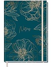 Trendstuff by Häfft Notitieboek, A5+, blanco met elastiek, goudbloesem, 156 pagina's, 78 vellen, als Bullet Journal, schetsboek, dagboek, notitieboekje, duurzaam en klimaatneutraal