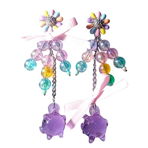 Circus Supplies Melbourne (Sansukjai Earring Purple Tiny Pig Figurines Hand Blown Glass Art, Beads, Ribbon, Fashion Earring, Boho Jewelry, Gift Long 3 1/8