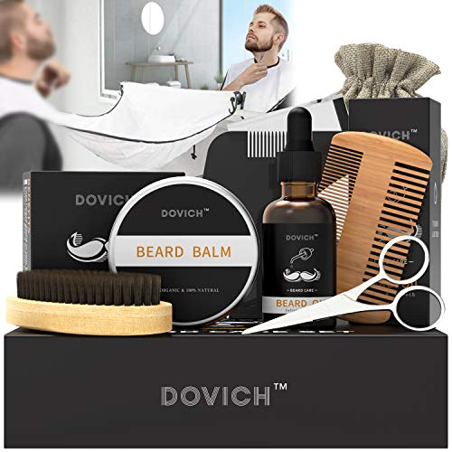Beard Oil – DOVICH Beard Grooming Care Kit 8 in 1 for Men, 100% Natural Beard Oil Leave-in Conditioner,Beard shaving cloth, Beard Balm, Beard Brush, Styling Comb, Trimming Scissors,Linen Bag