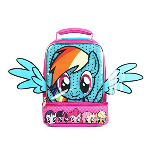 Dual Wing (Nickelodeon My Little Pony Glitter Dash 3D Blue Wings Insulated Dual Compartments Lunch Bag for Girls)