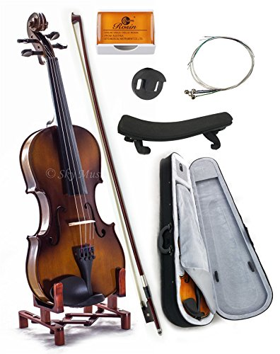 (SKY 1/8 Size SKYVN201 Solid Maple Wood Violin with Lightweight Case, Brazilwood Bow, Shoulder Rest, String, Rosin and Mute)