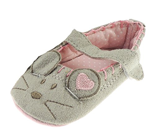 Baby Mädchen Baumwolle First Walker graue Maus Slipper Klettverschluss Schuhe In 3 s