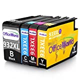 OfficeWorld Replacement for HP 932 933 Ink Cartridges 932XL 933XL High Yield Compatible for HP Officejet 6700 6600 7612 7110 7610 6100 (1 Black, 1 Cyan, 1 Magenta, 1 Yellow)