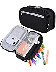 Large Pencil Case, TERSELY Multi Capacity Double Zipper Pencil Cases Pen Case Pencil Bag Pouch Organiser with Big Multi Compartments Mesh Pocket for School Student Boys Girls and Office Clerks, Black