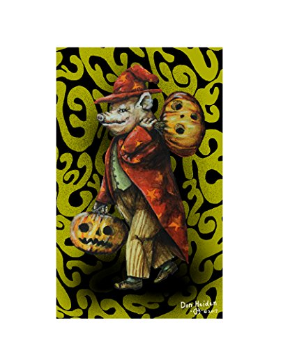 The Wizard of Swineslyvania, Halloween Pig Wizard Limited Edition Signed Fantasy Postcard 3 1/2