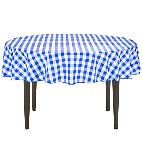LinenTablecloth 70-Inch Round Polyester Tablecloth Blue & White Checker