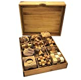 Twelve Brain Teasers with the Puzzle Showcase, 12 Wooden Game Gift Set Handmade Wooden Puzzles