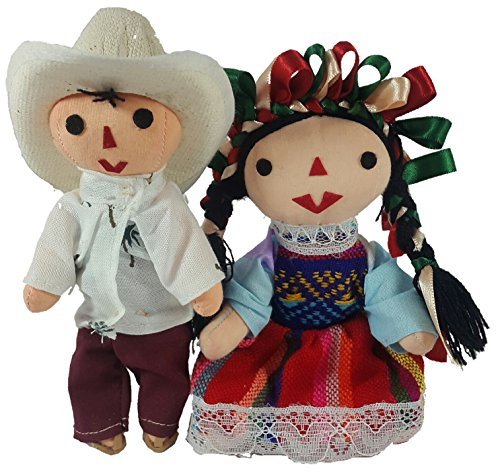 Jacq & Jürgen Rag Doll Mexican Man & Woman 2 Pack Small Toys Handcraft Traditional Costume 7'' Assorted Colors & Models Bundle Premium Materials