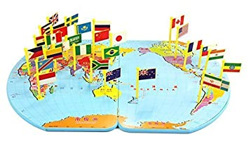 Amazon wisdomtoy wooden world map flag matching puzzle wisdomtoy wooden world map flag matching puzzle geography educational toy gift for kids gumiabroncs Images