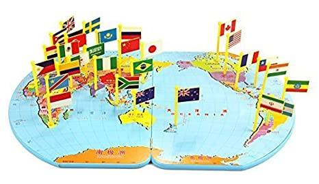 Flag World Map.Amazon Com Wisdomtoy Wooden World Map Flag Matching Puzzle