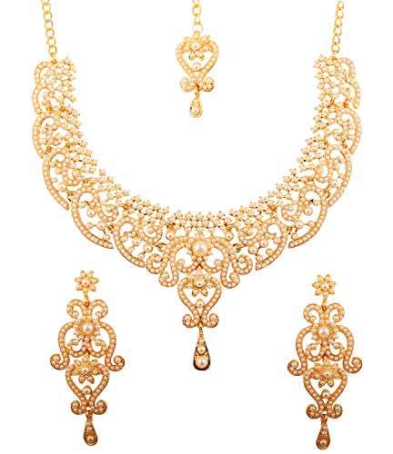 Touchstone New Indian Bollywood Fine Filigree White Faux Pearls Grand Bridal Jewelry Necklace Set in Antique Gold Tone for Women.