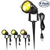 Tools & Hardware : Warmoon Outdoor Landscape Lighting 5W Waterproof COB Led Spotlights with US 3- Plug 3200K Warm White Decorative Lamp Come with Spiked Stand For Lawn, Garden, Along Driveway or Pathways (4 Packs)