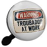Small Bike Bell Warning Troubador At Work Vintage Fun Job Sign - NEONBLOND
