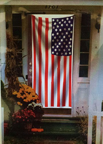 Door Cover American Flag 5 ft x 2.5 ft - Celebrate Patriotism - WeatherProof Door Decoration (Door Cover American Flag)