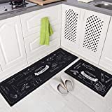 Non-Slip Kitchen Rug Set, Washable Anti-Fatigue Floor Entryway Mat with Rubber Backing Black